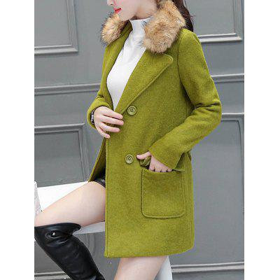 Fur Collar Pockets Walker Peacoat