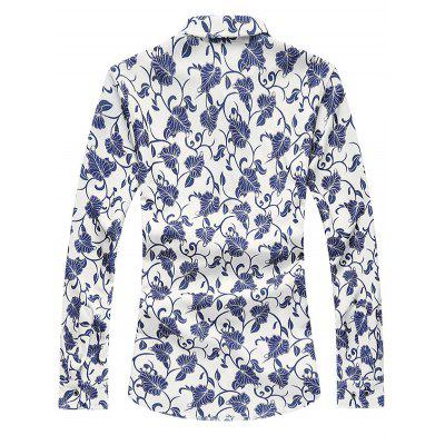 Floral Printed Long Sleeve ShirtPlus Size Tops<br>Floral Printed Long Sleeve Shirt<br><br>Collar: Turn-down Collar<br>Material: Cotton Blends<br>Package Contents: 1 x Shirt<br>Shirts Type: Casual Shirts<br>Sleeve Length: Full<br>Weight: 0.400kg