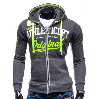 Buy DEEP GRAY Hooded Zip-Up Graphic Print Hoodie for $21.27 in GearBest store