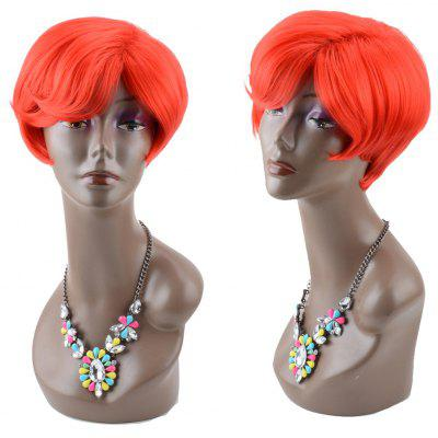 Buy RED Bob Haircut Short Straight Side Bang Synthetic Wig for $15.06 in GearBest store