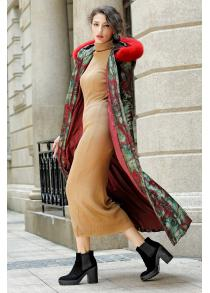 Fur Hooded Printed Longline Padded Coat