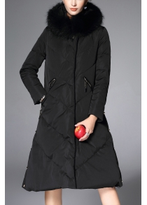 Faux Fur Trim Long Down Coat