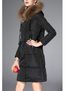 Furry Hooded Drawstring Down Coat