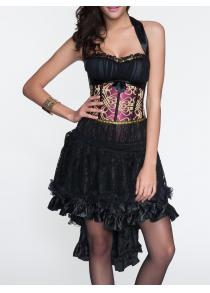 Lace-Up Corset + Asymmetrical Ruffled Skirt Twinset