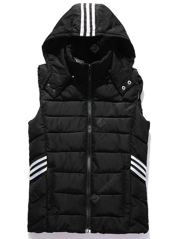 Puffer Stripe Trim Hooded Vest