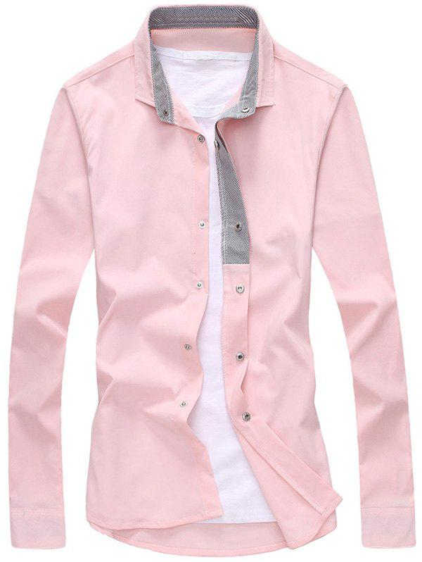 PINK Striped Lined Snap Button Up Plain Shirt