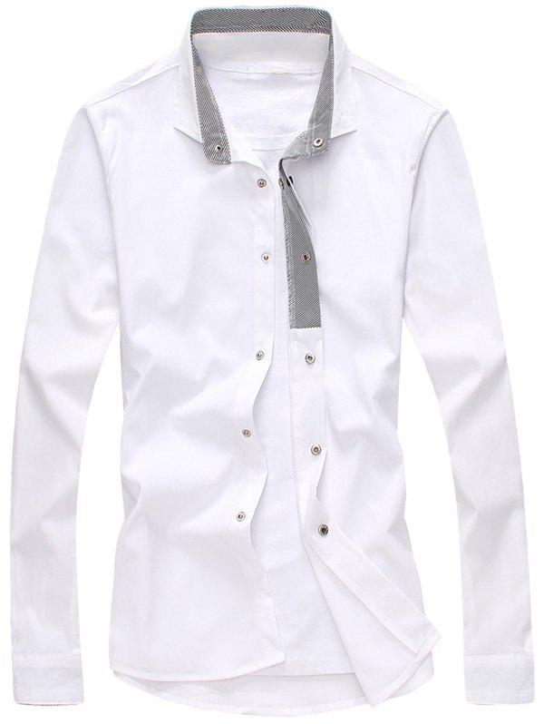 WHITE Striped Lined Snap Button Up Plain Shirt
