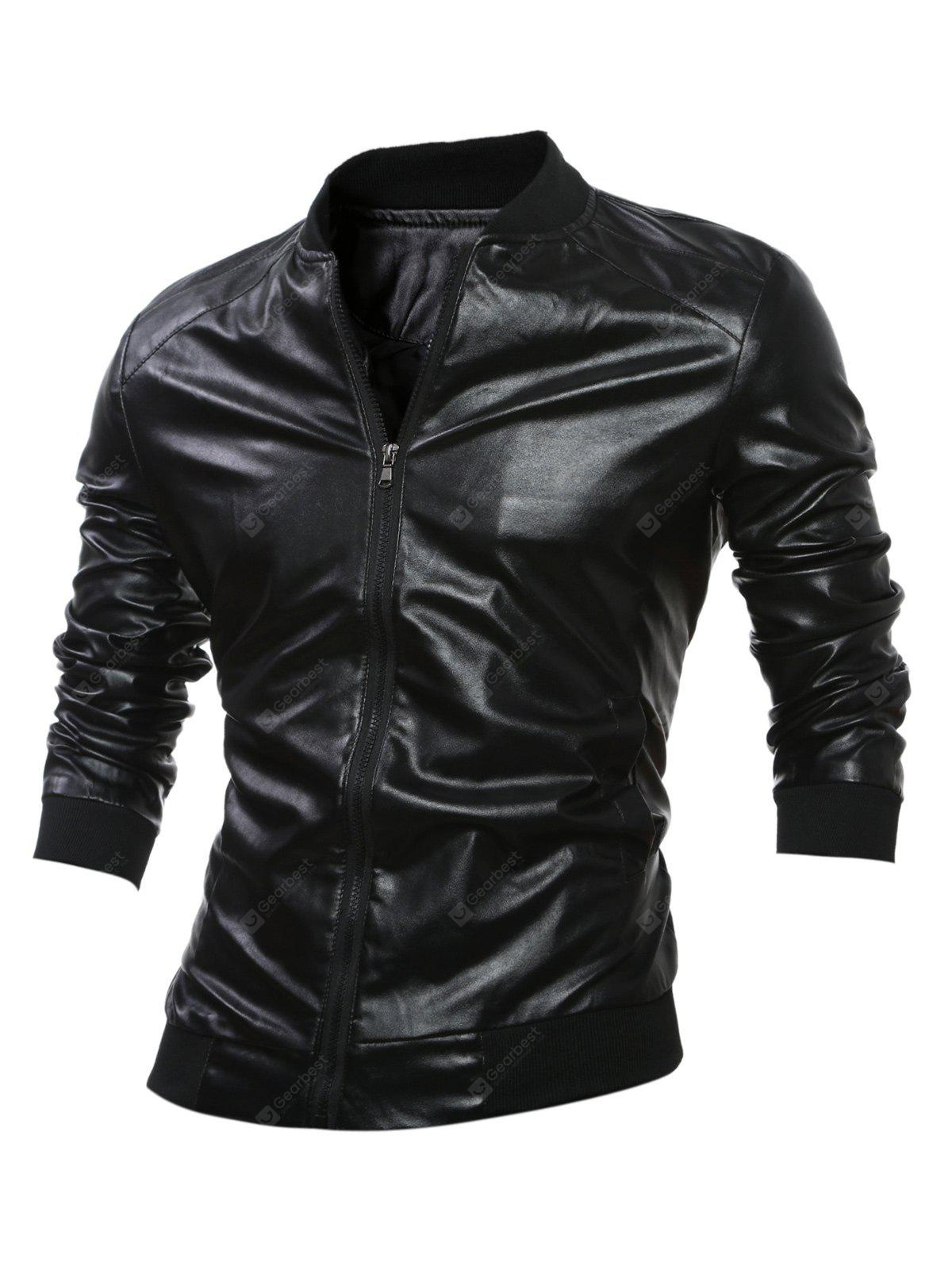 Stand Yaka Kaburga-Hem Zip Up Faux Leather Jacket