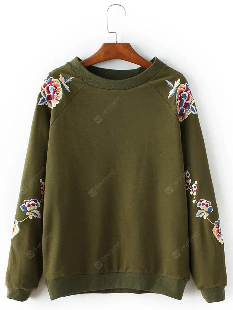Blossom Embroidery Pullover Sweatshirt