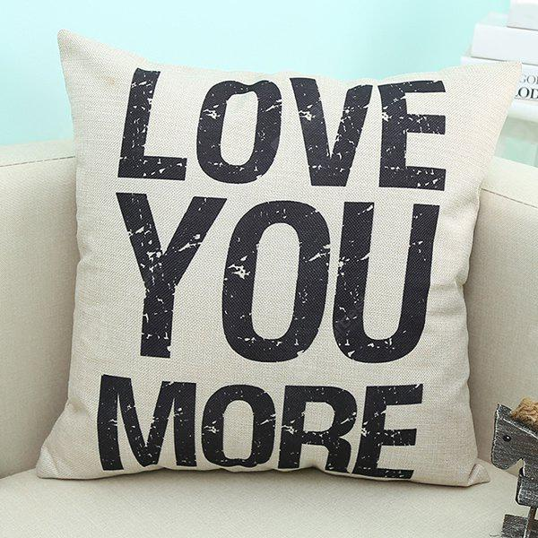 Home Decor Love You More Quote Printed Sofa Pillow Case