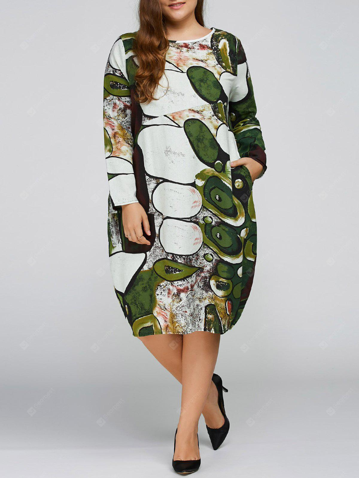 Fall-Plus Size Cocoon-Kleid