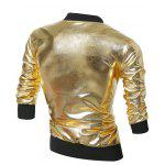 cheap Stand Collar Zippered Metallic Jacket