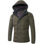 Drawstring Hooded Zip-Up Snap-Fastener Quilted Jacket - ARMY GREEN