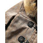 Furry Hood Horn Button Fleece Suede Coat deal