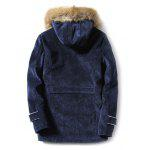 cheap Furry Hood Horn Button Fleece Suede Coat