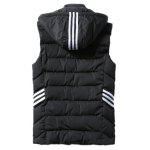 Cappuccio banda Impreziosito Zip-Up Down Gilet - NERO