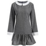 Fall-Peter Pan-Kragen-Plus Size Kleid - GRAU