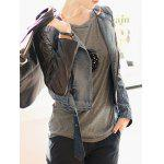 Faux Leather Sleeve Biker Denim Jacket
