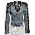 best Faux Leather Sleeve Biker Denim Jacket