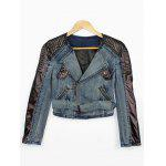 Faux Leather Sleeve Biker Denim Jacket photo