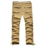 Buy Zipper Fly Straight Leg Pockets Embellished Cargo Pants 42 KHAKI