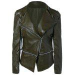 Buy Zippered Length Adjustable Faux Leather Biker Jacket S OLIVE GREEN