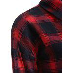Button Up Plaid Long Flannel Shirt - RED