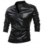Stand Yaka Kaburga-Hem Zip Up Faux Leather Jacket - SIYAH