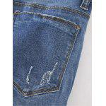 Frayed Bleach Wash Denim Pencil Pants for sale