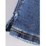 Frayed Bleach Wash Denim Pencil Pants photo