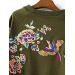 Blossom Embroidery Pullover Sweatshirt - OLIVE GREEN