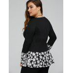 Floral Hem Plus Size Knit Top - SCHWARZ