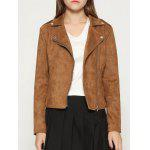 cheap Faux Suede Cropped Biker Jacket