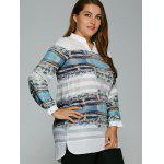 Plus Size Buildings Print Adjustable Sleeve Blouse deal