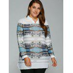 cheap Plus Size Buildings Print Adjustable Sleeve Blouse