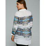 Plus Size Buildings Print Adjustable Sleeve Blouse for sale