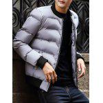 Stand Collar Rib Insert Zip Up Padded Jacket deal