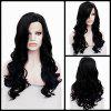 Long Side Parting Wavy Lace Front Synthetic Wig - BLACK