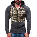 cheap Raglan Sleeve Zip-Up Camouflage Hoodie