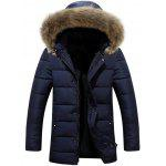 Faux Fur Collar Hooded Lengthen Zip-Up Quilted Coat - BLUE