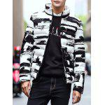 Stand Collar Zippered Texture Padded Jacket deal