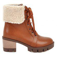 Faux Shearling Chunky Heel Ankle Boots