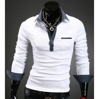 Turn-Down Collar Denim Spliced Design Long Sleeve Shirt For Men