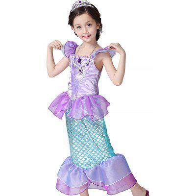 Kids Maxi Halloween Princess Cosplay Mermaid Dress