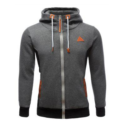PU-Leather Splicing Color Block Hoodie