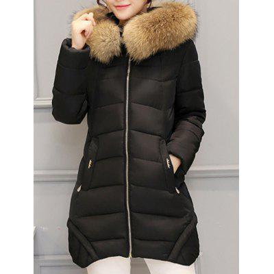 Asymmetrical Hooded Padded Coat women s new winter quilted jacket chunky puffer coat full zip spliced sweater hood padded outwear with knit sleeve