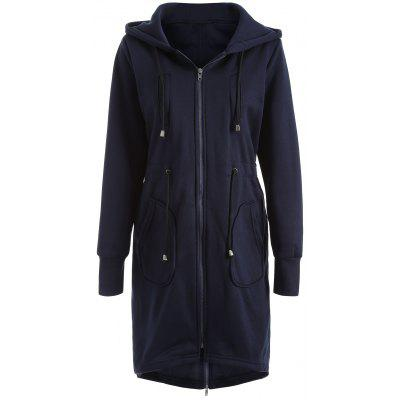 Drawstring Hooded Zipper Design Coat