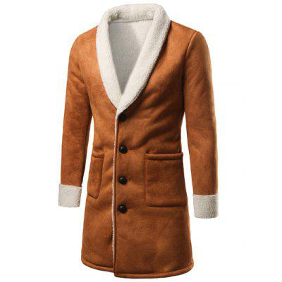 Shawl Collar Plush Lining Longline Coat