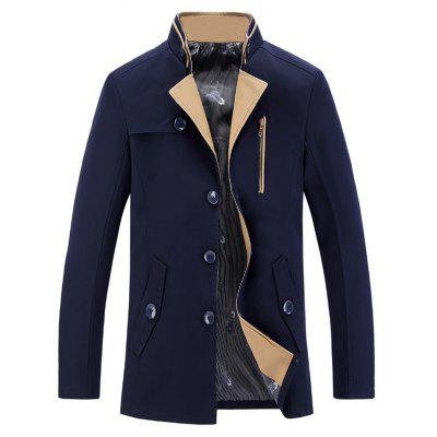 Stand Collar Single-Breasted Zipper Embellished Trench Coat