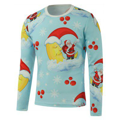 Santa Snowflake Moon Printed Long Sleeve Blue Sweatshirt